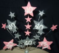 Star age 40th birthday cake topper decoration in pale pink and silver - free postage